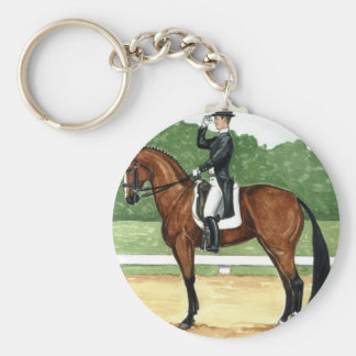 Halt, Salute at X Dressage Art Bay Horse Basic Round Button Key Ring