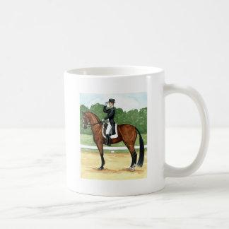 Halt, Salute at X Dressage Art Bay Horse Basic White Mug