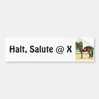 Halt, Salute at X Dressage Art Bay Horse Bumper Sticker