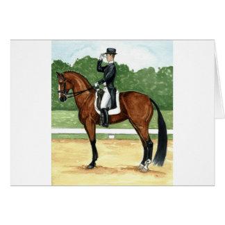 Halt, Salute at X Dressage Art Bay Horse Greeting Card