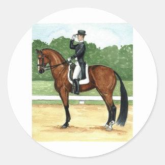 Halt, Salute at X Dressage Art Bay Horse Round Sticker