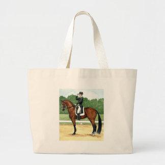 Halt, Salute at X Dressage Art Bay Horse Tote Bag