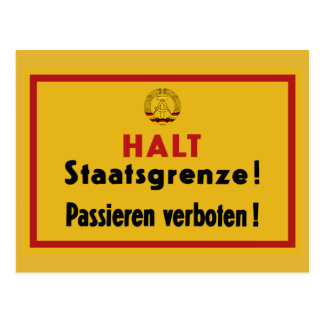 Halt Staatsgrenze! Berlin Wall, Germany Sign Postcard