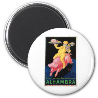 Ham Alhambra Vintage Food Ad Art 6 Cm Round Magnet