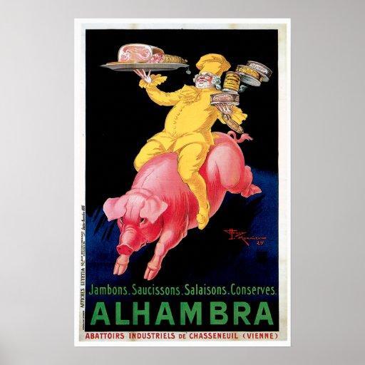 Ham Alhambra Vintage Food Ad Art Poster