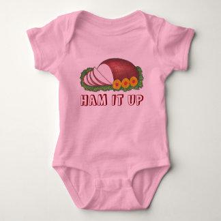 HAM IT UP Holiday Ham Pineapple Christmas Dinner Baby Bodysuit