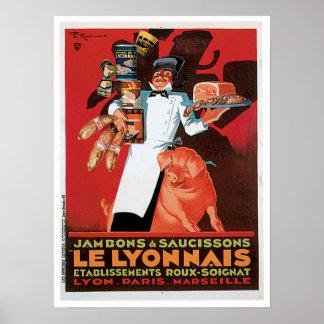 Ham Le Lyonnais French Food Vintage Ad Art Poster