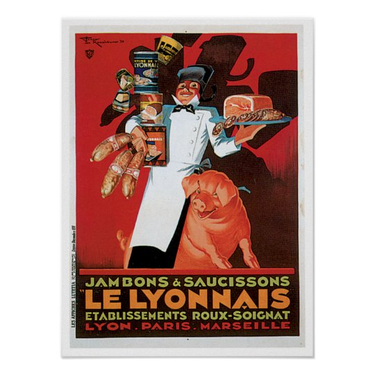 Ham Le Lyonnais French Food Vintage Ad Art