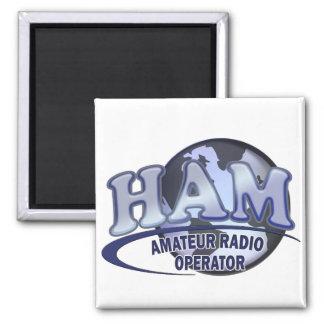 HAM LOGO BLUE AMATEUR RADIO OPERATOR SQUARE MAGNET