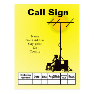 Ham Operator Outdoor Silhouette QSL Card Post Card