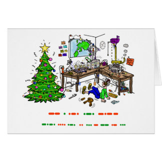 Ham Radio Morse Code Shack Christmas Card