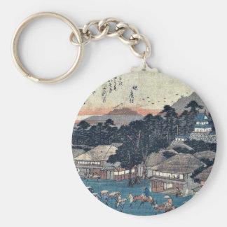 Hamamatsu by Ando, Hiroshige Ukiyoe Basic Round Button Key Ring
