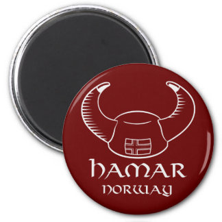 Hamar Norway Viking Hat 6 Cm Round Magnet