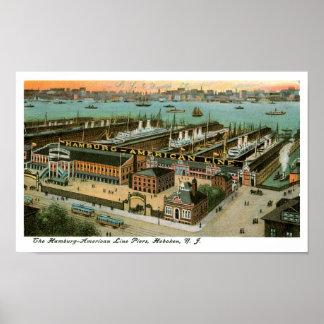 Hamburg America Line Piers Poster