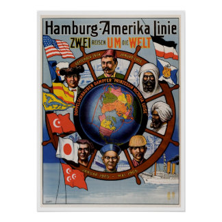 Hamburg Amerika Line Vintage Ship Advertisement Poster