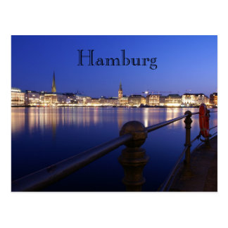 Hamburg Binnenalster blue hour of postcard