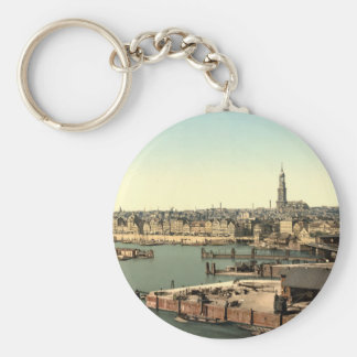 Hamburg from the Watch Tower, Germany Basic Round Button Key Ring