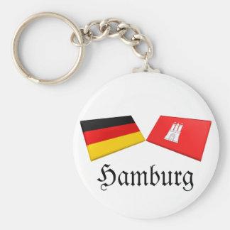 Hamburg, Germany Flag Tiles Basic Round Button Key Ring