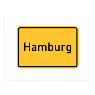 Hamburg, Germany Road Sign Postcard