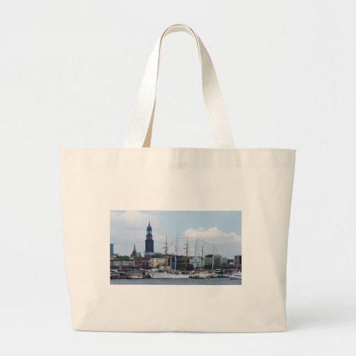 Hamburg Harbor Hafen Michel Deutschland Schiffe Canvas Bags