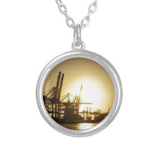 hamburg harbor silver plated necklace
