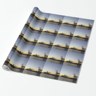 hamburg harbor wrapping paper