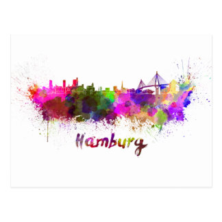 Hamburg skyline in watercolor postcard