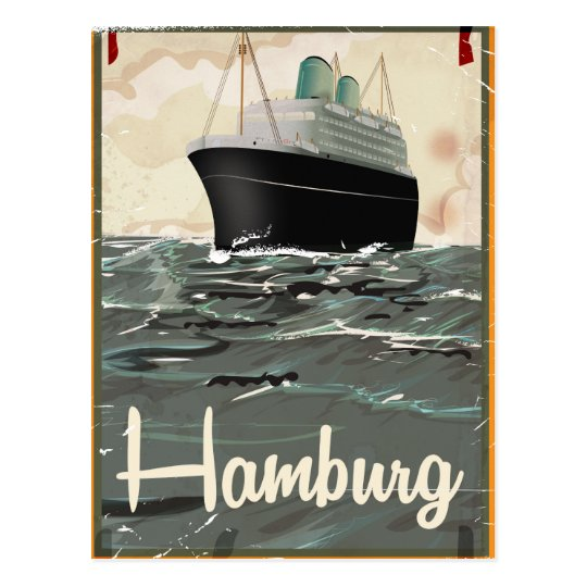 Hamburg Vintage Travel poster Postcard