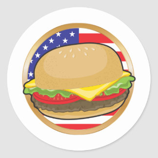 Hamburger American Flag Round Sticker