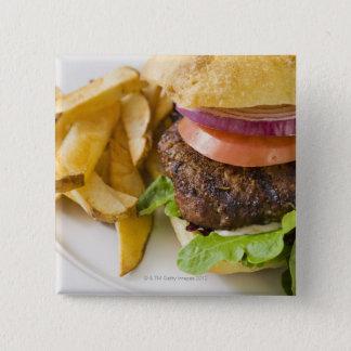 Hamburger and French Fries 15 Cm Square Badge