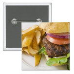 Hamburger and French Fries 15 Cm Square Badge