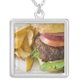Hamburger and French Fries Silver Plated Necklace
