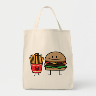 Hamburger and Fries Grocery Tote Bag