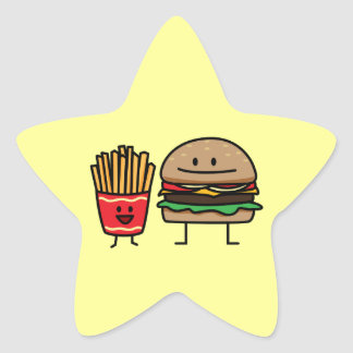 Hamburger and Fries Star Sticker