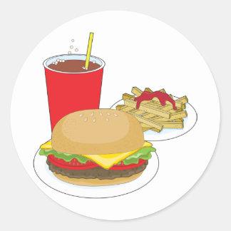 Hamburger and Fries Round Stickers