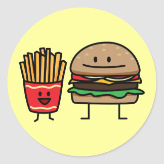 Hamburger and Fries Round Sticker