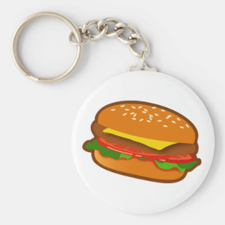 Hamburger Basic Round Button Key Ring