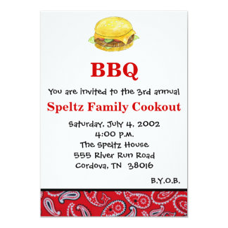 Hamburger Cookout Invitation