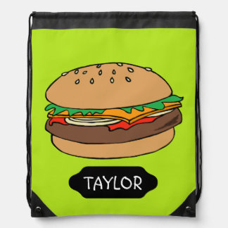 Hamburger custom drawstring backpack