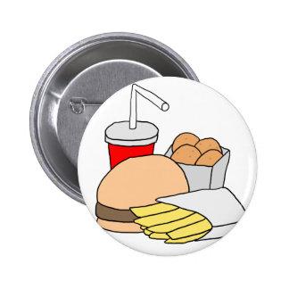 Hamburger, Fries, Chicken Nuggets and Soda 6 Cm Round Badge