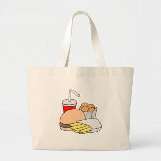 Hamburger, Fries, Chicken Nuggets and Soda Canvas Bags