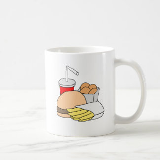 Hamburger, Fries, Chicken Nuggets and Soda Basic White Mug