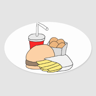 Hamburger, Fries, Chicken Nuggets and Soda Oval Sticker