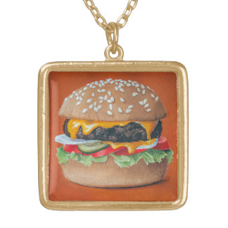 Hamburger Illustration necklace