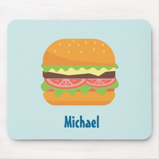 Hamburger Illustration with Tomato and Lettuce Mouse Mat