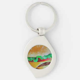 Hamburger keychain. Silver coloured metal,pop art Silver-Colored Swirl Key Ring