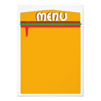 hamburger menu page 13 cm x 18 cm invitation card