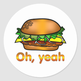 Hamburger Oh, Yeah Round Sticker