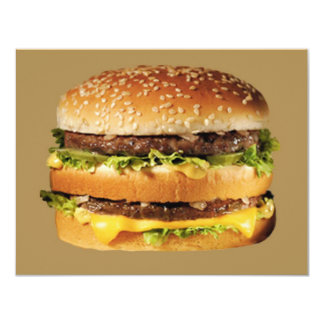 hamburger on tan invitations