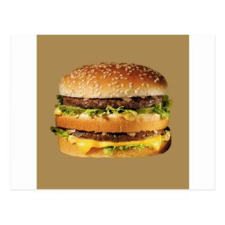 hamburger on tan post card